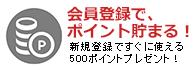 新規会員登録で500ポイントプレゼント