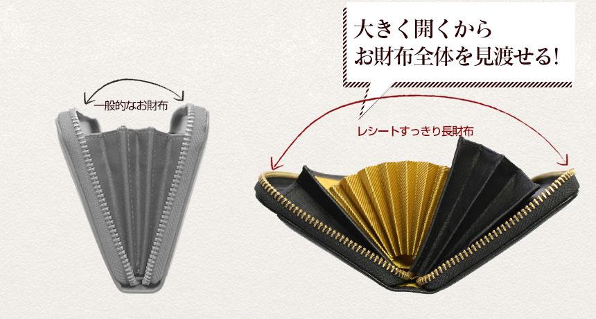 アコーディオン式の長財布は大きく開いて使いやすい